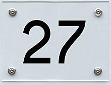Hausnummernschild mit Hausnummer 27, Acryl Haus
