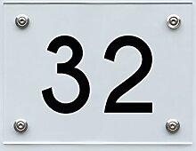 Hausnummernschild mit Hausnummer 32, Acryl Haus