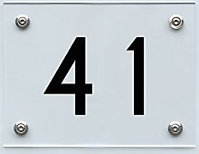 Hausnummernschild mit Hausnummer 41, Acryl Haus