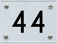Hausnummernschild mit Hausnummer 44, Acryl Haus