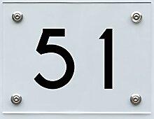 Hausnummernschild mit Hausnummer 51, Acryl Haus
