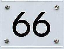 Hausnummernschild mit Hausnummer 66, Acryl Haus