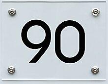 Hausnummernschild mit Hausnummer 90, Acryl Haus