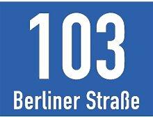 Hausnummernschild mit Straßenangabe blau, Alu,