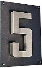 Hausschild Hausnummer 5 Edelstahl H20cm New Design