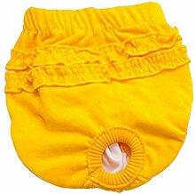 Haustier Menstruation Hose - TOOGOO(R)Haustier Welpe Slip Hygiene Sanitaer Menstruation Hose Unterwaesche Windel, Gelb S