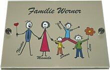Haustürschild Happy Family , drei Kinder, Farbe