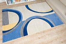 Havatex: Moderner Teppich Joy de Luxe Kreise creme / blau / Geprüfte Qualität / Flormaterial: 100 % Heatset Friseé / In verschiedenen Größen erhältlich