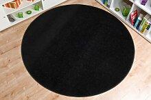Havatex: Velour Teppich Georgia schwarz rund / Geprüfte Qualität / Flormaterial: 100 % Polypropylen / In verschiedenen Größen erhältlich