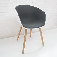 Hay About A Chair AAC22 Gepolsterter Stuhl Sitzschale: Weiß Geseifte Eiche Steelcut Trio 153 Stuhl (b) 59 X (t) 50 X (h) 80 Cm