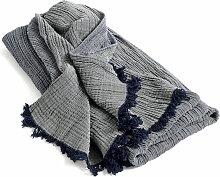Hay - Crinkle Wolldecke, navy blue