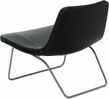 Hay - Ray Lounge Chair, Edelstahl / Leder schwarz