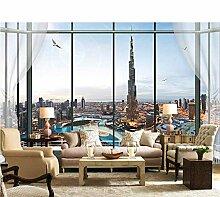 Hbbhbb Stadt-Skyline-Fototapete Des Fensters 3D