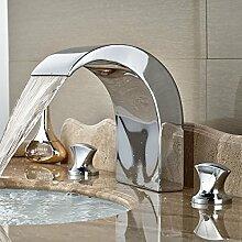 hbbobo Deck montieren Zwei Griff Waschbecken Wasserhahn Chrom Messing Keramik-Kartusche Wasserfall Auslauf Einhandmischer, chrom, Stil 4