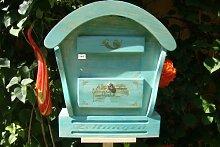 HBK-RD-BLAU Holz-Briefkasten, Briefkasten mit Holz