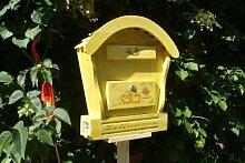 HBK-RD-GELB Holz-Briefkasten, Briefkasten aus Holz