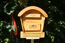 HBK-RD-HELLBRAUN Holz-Briefkasten, Briefkasten mit