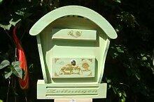 HBK-RD-MOOSGRÜN Holz-Briefkasten, Briefkasten mit