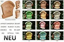 HBK-RD-NATUR Briefkasten aus Holz NEU Vollholz