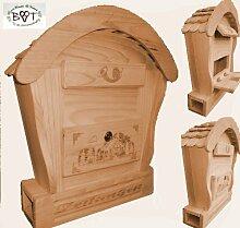 HBK-RD-NATUR Holz-Briefkasten, Briefkasten mit