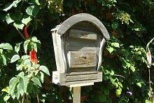 HBK-RD-SCHWARZ Holz-Briefkasten, Briefkasten aus