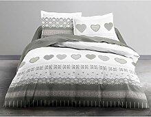 HC3–'57Garne 2Personen genießen Design Courchevel Bettwäsche Set Bettbezug & 2Kissenbezüge 63X 63CM, Baumwolle, weiß, grau, 220x 240cm