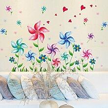 HCCY Cartoon Kinder im Kindergarten Class Zimmer in einem Aufkleber Dekoration Farbe Mühle Wohnzimmer sind Sie auf der Wand Poster 91*60 cm entfernen können, Windmühle Blumen