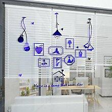 HCCY Kreative continental Bilderrahmen Lampe selbstklebende Wandhalterung Sofa im Wohnzimmer an der Wand Dekor home Fenster Glas Aufkleber, gebürstet Blau, 90 * 93 cm