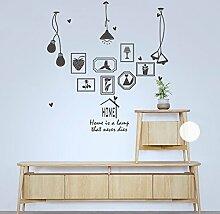 HCCY Kreative continental Bilderrahmen Lampe selbstklebende Wandhalterung Sofa im Wohnzimmer an der Wand Dekor home Fenster Glas Aufkleber, Grau, 90 * 93 cm