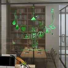 HCCY Kreative continental Bilderrahmen Lampe selbstklebende Wandhalterung Sofa im Wohnzimmer an der Wand Dekor home Fenster Glas Aufkleber, gebürstet Grün, 90 * 93 cm