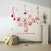 HCCY Kreative continental Bilderrahmen Lampe selbstklebende Wandhalterung Sofa im Wohnzimmer an der Wand Dekor home Fenster Glas Aufkleber, gebürstet Rot, 180*186 cm
