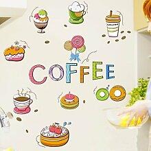 HCCY Sie den Kaffee Wand dessert Kreative Cartoon schränke Küche Dekor Aufkleber Kühlschrank Frühstück im Restaurant Wände 42 * 30 cm entfernen können, Aufkleber Bild Farbe