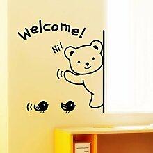 HCCY Wandhalterung Tier Bären Willkommen auf den Aufkleber auf der Tür der Schlafzimmer Wohnzimmer Shop Home Decor Poster Schaufenster Kinderzimmer baby Aufkleber 43 * 42,5 cm