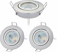 HCFEI 3er set LED Einbaustrahler dimmbar rund