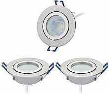 HCFEI 3er Set LED Einbaustrahler silber - rund