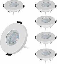 HCFEI 6er Set IP44 LED Einbaustrahler in Weiß