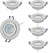 HCFEI 6er Set LED Einbaustrahler silber - rund