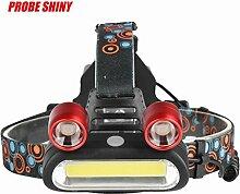 HCFKJ 15000LM 2x XM-L T6 LED + COB Wiederaufladbare 18650 Scheinwerfer Scheinwerfer Taschenlampe