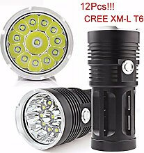 HCFKJ 30000LM 12 X CREE XM-L T6 LED Taschenlampe Torch 4 x 18650 Jagd Lampe