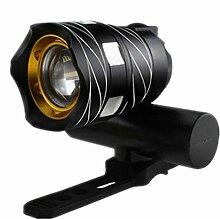HCFKJ 350LM T6 LED Radfahren Fahrrad Kopf Licht Taschenlampe 3 Modi Taschenlampe USB (SCHWARZ)