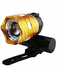 HCFKJ 350LM T6 LED Radfahren Fahrrad Kopf Licht Taschenlampe 3 Modi Taschenlampe USB (GOLD)