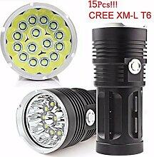HCFKJ 38000LM 15 X CREE XM-L T6 LED Taschenlampe Torch 4 x 18650 Jagd Lampe