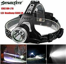 HCFKJ 5000 Lm CREE XM-L XML T6 LED Scheinwerfer Scheinwerfer Taschenlampe Kopf Lampe 18650