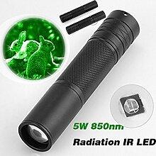HCFKJ 5W 850nm LED Infrarot IR Taschenlampe Zoomable für Nachtsichtgerä