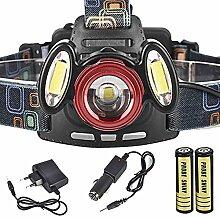 HCFKJ 8000Lm 3 X XML-T6 wiederaufladbare Stirnlampe Taschenlampe USB-Scheinwerferlampe + 18650 + Ladegerä