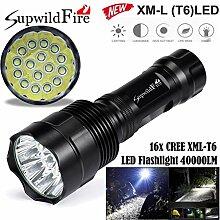 HCFKJ SupwildFire 40000Lm 16x CREE XML T6 LED 5 Modus LED Taschenlampe Licht Lampe