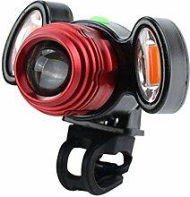 HCFKJ USB Lade Radfahren Fahrrad Kopf Licht Taschenlampe 4 Modi Induktion (ROT)