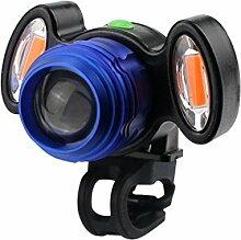 HCFKJ USB Lade Radfahren Fahrrad Kopf Licht Taschenlampe 4 Modi Induktion (BLAU)