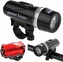 HCFKJ Wasserdicht 5 LED Lampe Fahrrad Fahrradlicht Kopfvorderseite + hinten Sicherheit Taschenlampe Se
