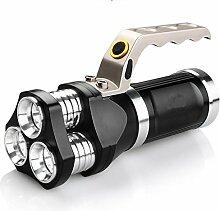 HCFKJ Wiederaufladbare LED-Suchscheinwerfer taktische Taschenlampe 3T6 Spotlight 9000 Lumen